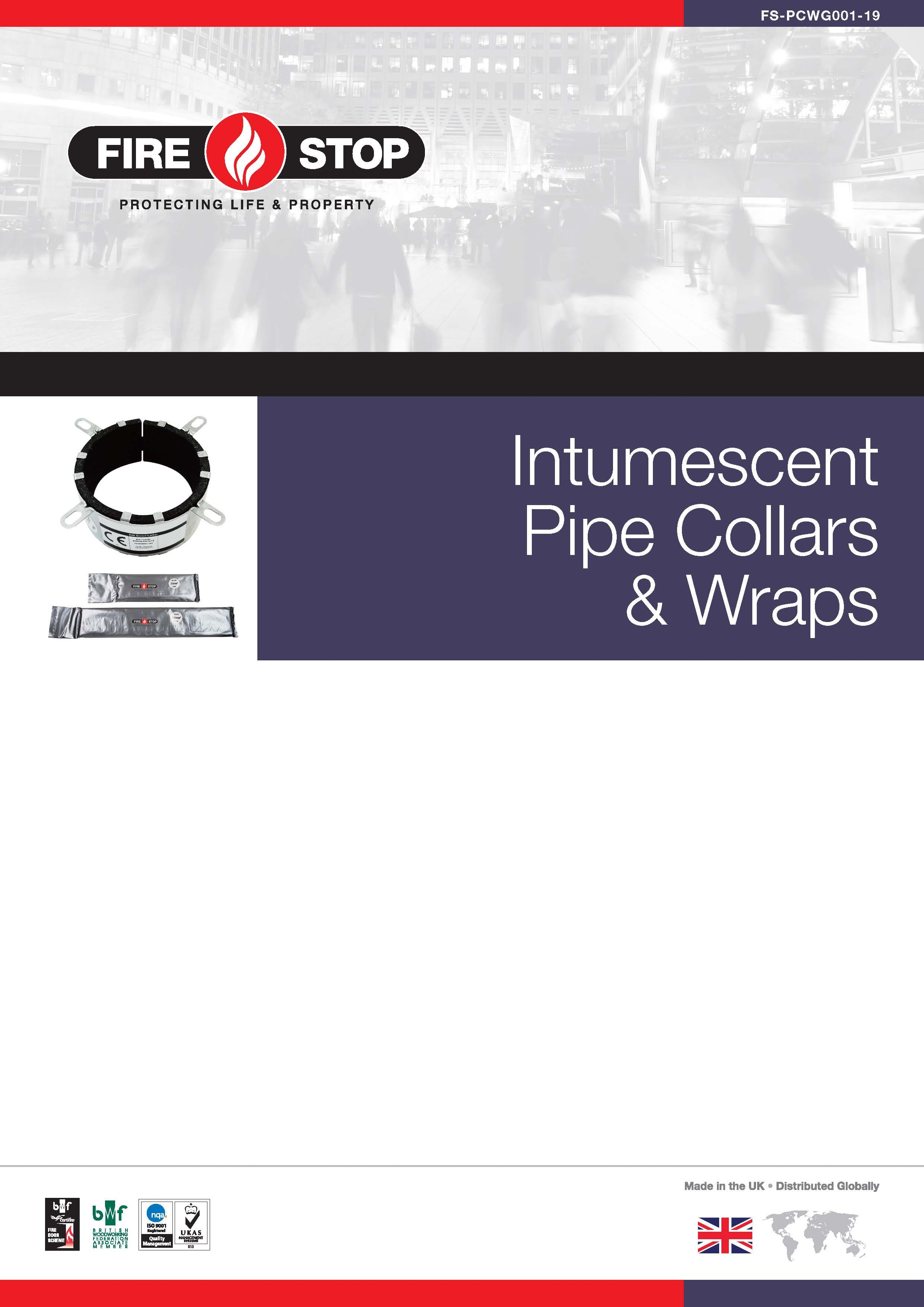 Firestop Intumescent Pipe Collars & Wraps brochure front page