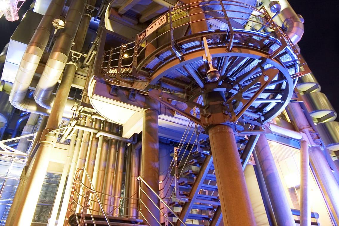 Steel staircase in industrial building